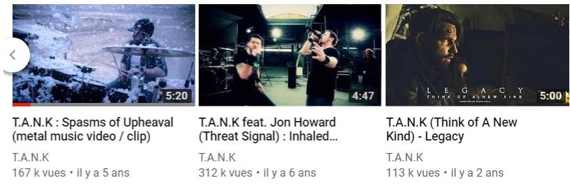 T.A.N.K videos on youtube